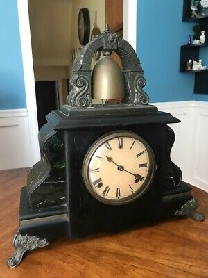 Antique Gilbert Curfew 8-Day Chime Clock Outside Top Bell Working Winsted Conn