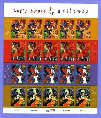 2005 #3939-42 37c Let's Dance Mint Sheet/20 MNH
