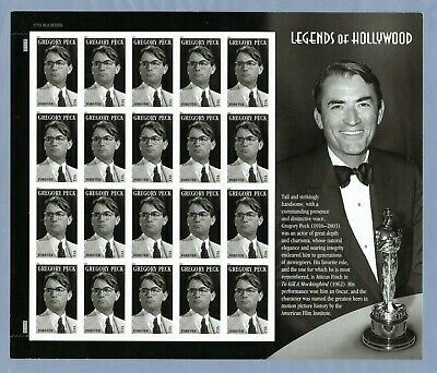 2011 #4526 44c Gregory Peck Legends of Hollywood Mint Sheet USA MNH