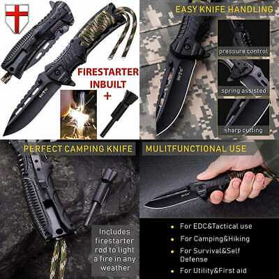 Pocket Knife Tactical Folding Spring Assisted W Fire Starter & Paracord Handle B