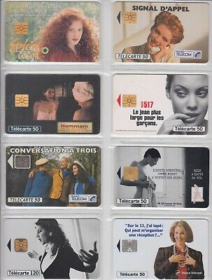 8 Phone Card Set / Telecarte .. France Pack 2 Fille Sexy Girl  Topic Used/Chip
