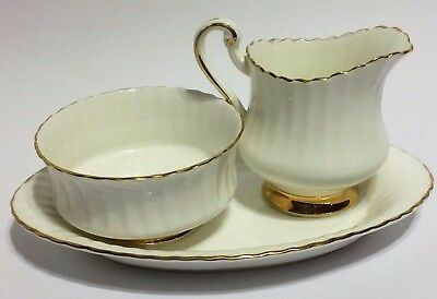 Vintage Paragon White Ribbed with Gold Cream & Sugar with Tray Her Majesty Queen