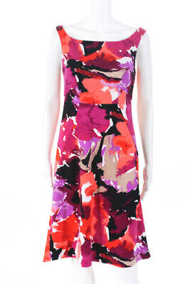 Trina Turk Womens Graphic Floral Pink Purple Size 2 11010825