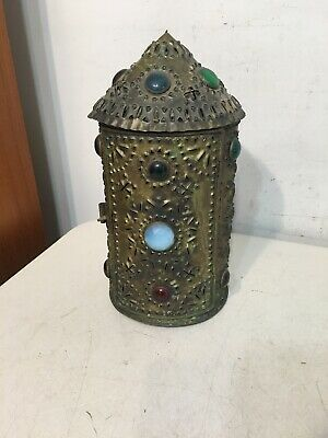 Vintage Pierced Brass & Jeweled Lantern Candle Lamp Light