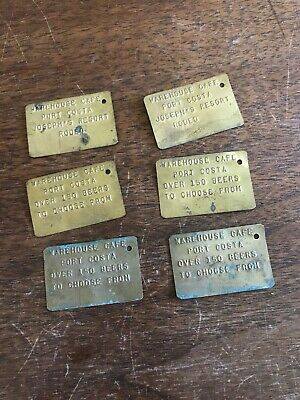 Lot of 6 Vintage Hand Stamped Brass Tags Warehouse Cafe Port Costa California CA