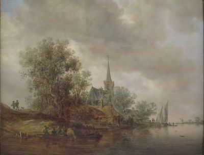 "perfect handpainted oil painting ""River Landscape with a Village Church ""NO6055"
