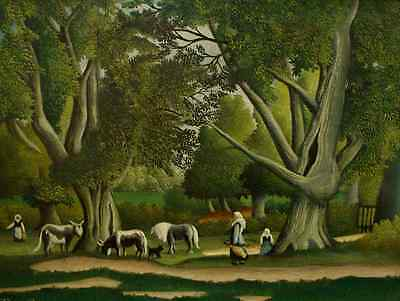 """perfact oil painting handpainted on canvas """"women,horse,cattle,cat,trees""""@HL06"""