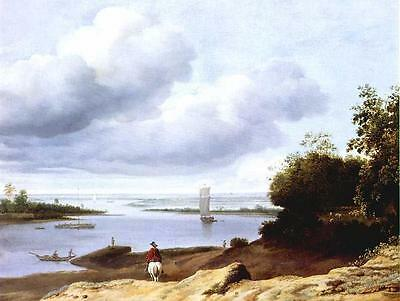 """perfact oil painting handpainted on canvas """"River View with a Horseman""""N4833"""