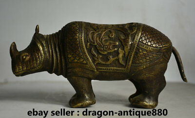 "9.6"" Old Chinese Bronze Feng shui rhinoceros Cattle Ox Animal Statue Sculpture"