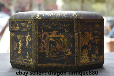"""10"""" Marked Ancient Chinese Lacquerware Wood Dynasty People Official Box cabinet"""
