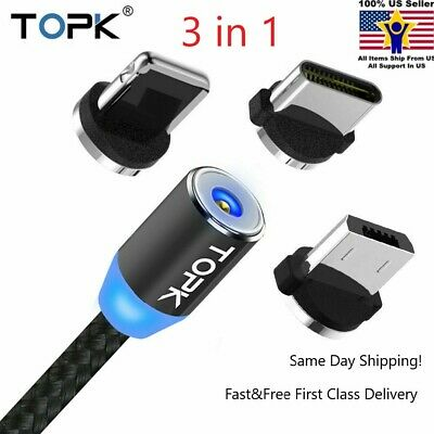 3in1 TOPK Cable Type C/iOS/Micro USB Android Round Magnetic Charger Adapter Lot