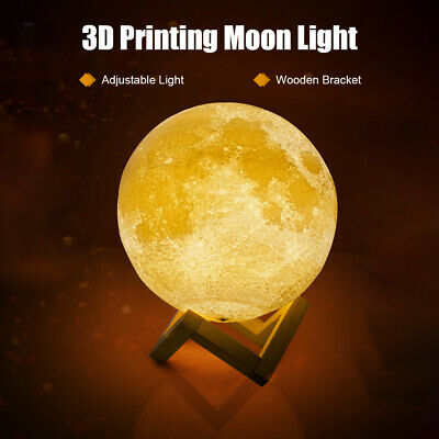 3D Printing Clap Moon Light USB Rechargeable 3-Color Dimmable Night Lamp I6G9