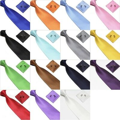 Plain Tie cufflink and hanky hankerchief set stylish fashion mens gifts party