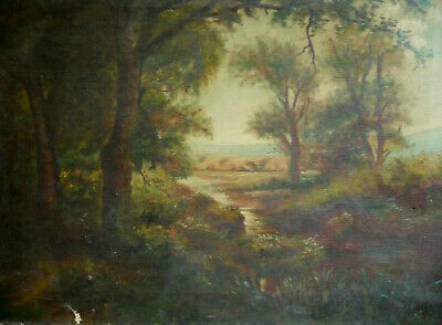 Mystery Antique Oil Vintage Plein Air Impressionist Landscape Nature Trees Creek