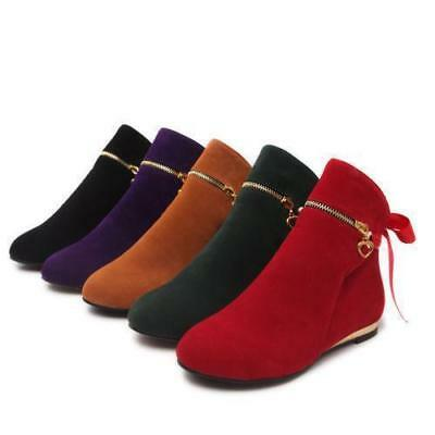 New Fashion Girls Womens Faux Suede Round Toe Flat Ankle Boots Pull On Boots US