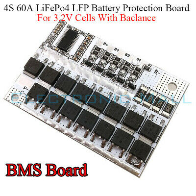 4S 60A w/Balance BMS Protection PCB Board F 3.2V LiFePo4 LiFe 18650 Battery Cell