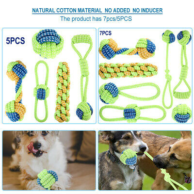 New 5/7 PCs Dog Rope Toys Pet Puppy Chew Toy Gift Set Durable Cotton Clean Teeth