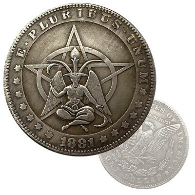 Baphomet Coin Goat Pentagram Occult Black Magic Hobo Pattern Dollar Coin