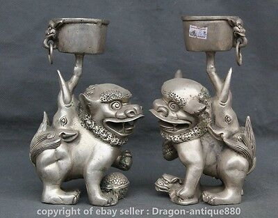 18CM Chinese Silver Auspicious Lion Beast Lucky Candle Holder Candlestick Pair S