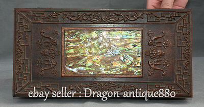 "11"" Old Chinese Huanghuali Wood Inlay Shell Dynasty Bat Jewelry Box Chest Boxes"