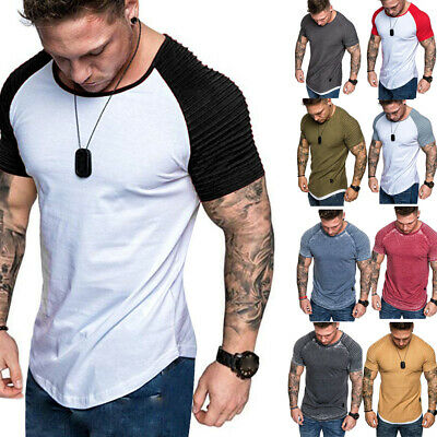 Men's Casual Fit Short Sleeve Slim Muscle Bodybuilding Training T-shirt Tee Tops