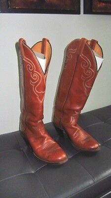 9cbe0d5f7b9 TONY LAMA BROWN Leather Tall Stovepipe Cowboy Boots Size 9 E Style ...