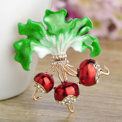 Fashion Red Enamel Radish Brooch Pin Crystal Gold Plated Brooches Party Gift