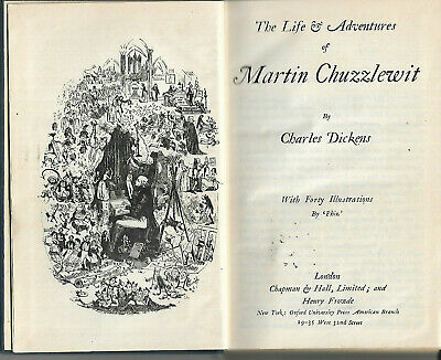 Antique book Martin Chuzzlewit by Charles Dickens 1913 illustrations by Phiz vgc