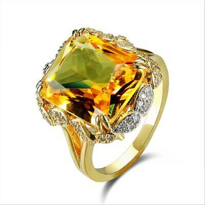 Princess Cut Huge Citrine 18K Yellow Gold Filled Ring Wedding Jewelry Size 6-10
