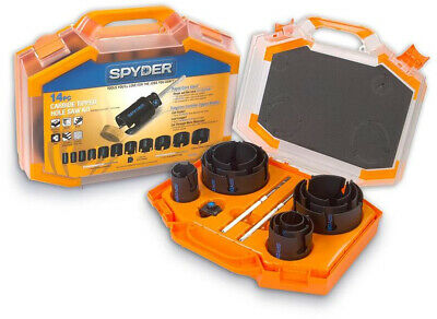 Bi-Metal Arbored Hole Saw Set Spyder Cut Holes in a Snap-Even at an Angle 13-PCS