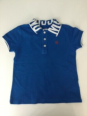 Moschino Boys Polo Top, Short Sleeve, Age 4 Years, Blue, In Vgc