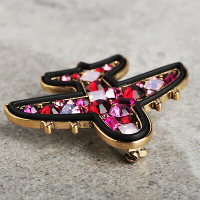Fashion Red Crystal Airplane Brooch Pin Enamel Gold Plated Brooches Party Gift