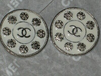 Chanel 2 Metal Cc Logo Front Camellia Flower Off White Buttons  20 Mm Lot 2