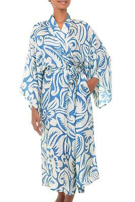 d31ad6174 Women's Silk Robe Floral Print One Size 'Blue Hibiscus Haven' NOVICA Bali