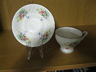 Vintage Queen Anne Teacup & Saucer English Bone China Set Pink Yellow + Flowers