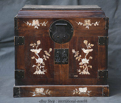 "15"" Chinese Huanghuali Wood Inlay Shell Flower Birds Drawer Cabinet Cupboard Box"