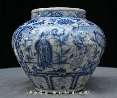 """10"""" Marked Ancient Chinese Blue White Porcelain Palace General Horse Tank Jar"""