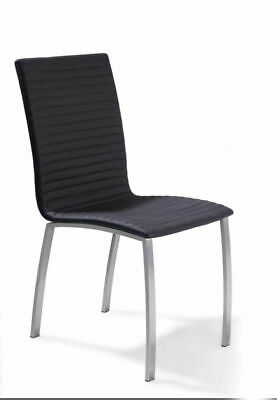 Harry PU Leather Padded Stainless Steel Frame Chairs in Black or White
