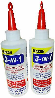 Beacon Adhesives Two Bottles of 3-in-1 Advanced Craft Glue 118ml, Dries Crystal