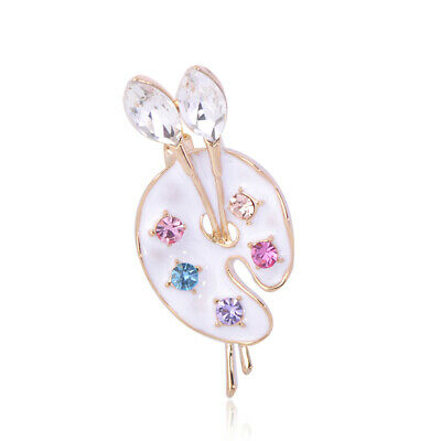 Charms White  Enamel Palette Brooches Crystal Gold Plated Brooch Pin Party
