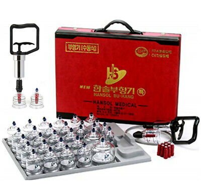 Hansol Professional Cupping Therapy Equipment Set [30 Cup] + Pumping Handle GIFT
