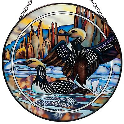"""Loons """"Forever Wild"""" Hand Painted Glass Suncatcher By AMIA Studios 6.5"""" New"""