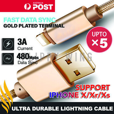 iPhone Charger Cable lightning Cord Lead Fast Charge For Apple 6 7 8 X Xs iPad