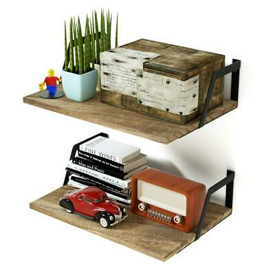 Floating Shelves Wall Mounted Set of 2 Rustic Wood with Large...
