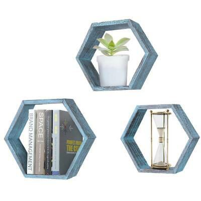 Rustic Wall Mounted Hexagonal Floating Shelves - Set of 3 - Blue