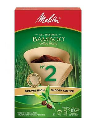 Melitta 625100 Bamboo Coffee Filters, No 2, 80-Count Boxes (Pack of...