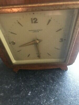 Art Deco 1920's 1930s Mappin & Webb Elliott 8 Day Wood Brass Inlays Mantle Clock