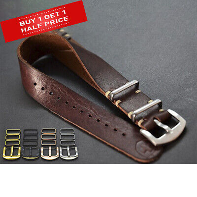 Superior Genuine Leather Military Watch Strap Army NATO style Handmade 18-24mm