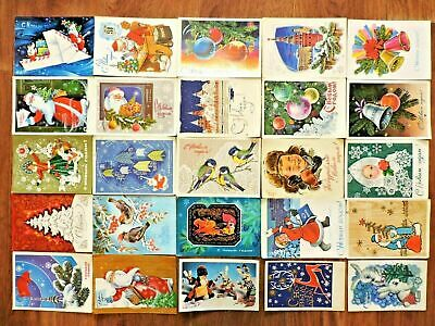 Lot #3 vintage postcards Soviet Russia 25 PCs New Year USSR Posted