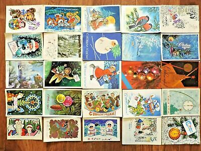 Lot #1 vintage postcards Soviet Russia 25 PCs New Year USSR Posted